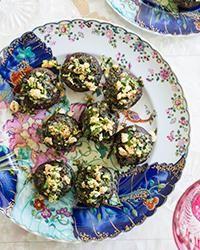 Kale-Stuffed Mushrooms with Hazelnut Gremolata Recipe on Food & Wine