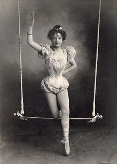 Vintage Photograph Circus Black and White Trapeze Artist Woman Victorian