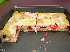 EASY Cherry (with Cream Cheese) Danish 2 cans (8 oz. each) refrigerated crescent dinner rolls, divided 2 pkg. (8 oz. each) PHILADELPHIA Cream Cheese, softened 1-1/2 cups powdered sugar, divided 1 egg white 1 tsp. vanilla 1 can (20 oz.) cherry pie filling 3 Tbsp. milk
