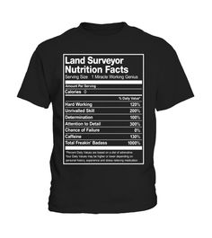 20c22885 Land Surveyor Nutrition Facts Funny T-Shirt Funny Tshirts, Nutrition, Meals