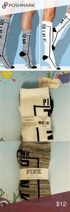 NWT PINK VS Knee High Socks. Scrunch Two pair Victoria's Secret pink knee high socks period one pair is black and grey marl, the other pair is black and white.  Discontinued PINK Victoria's Secret Accessories Hosiery & Socks
