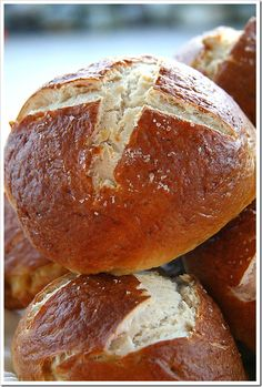 pretzel-buns, great for blts:  7 cups all purpose flour   1 teaspoon salt   1 package instant yeast   1 1/2 cups warm milk   1 cup warm water   3 tablespoons melted butter   For the Water bath: 2 quarts water, 1 tablespoon salt, 4 tablespoons baking soda