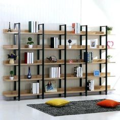 Landmark American creative wood wrought iron shelf bookcase library shelves simple multifunction shelving study Source by aimroy Iron Furniture, Steel Furniture, Home Furniture, Furniture Design, Library Shelves, Wood Shelves, Shelving, Regal Display, Regal Design