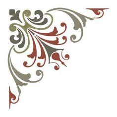 ТРАФАРЕТЫ-УГЛЫ - DEKORAMA Art Deco Pattern, Stencil Patterns, Stencil Designs, Painting Patterns, Paint Designs, Stencil Painting, Ceramic Painting, Flower Art Drawing, Glass Painting Designs