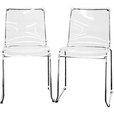 Lino Transparent Clear Acrylic Dining Chairs (Set of 2) - 13011624 - Overstock.com Shopping - Great Deals on Baxton Studio Dining Chairs