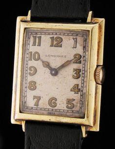 RARE Solid 14K GOLD ArT DeCo LONGINES Vintage MENS Dress WATCH FANCY Case WORKS!