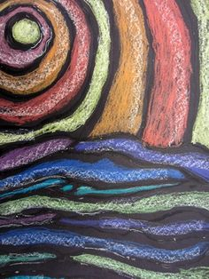 chalk/glue- an exercise in warm and cool colors