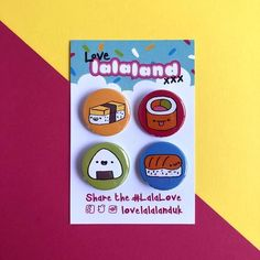 Sushi button pin badge set (pack of tamago, onigiri, california roll, salmon nigiri California Roll Sushi, Nigiri Sushi, Display Banners, Rice Balls, Doodle Designs, All Things Cute, Pin Badges, Love, Save Yourself
