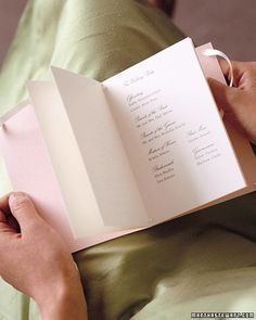 These guides to the wedding ceremony are both beautiful and useful. They can capture the event from start to finish and provide a cherished memento for everyone. They also offer a wonderful opportunity to speak directly to your wedding guests, letting them know what the day and the details mean to you. The contents can't be printed until all the specifics have been decided, but you can get a head start by having the covers made when you order your invitations so they match exactly. Or, if…