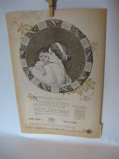 Mother and baby illustration in 1920 Ivory soap ad by mudintheUSA, $11.50