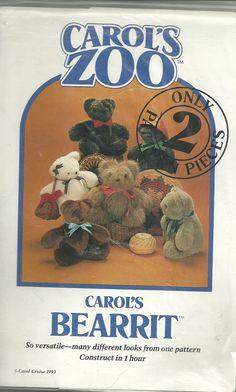 """CAROL'S ZOO """" BEARRIT BEAR"""" PATTERN"""