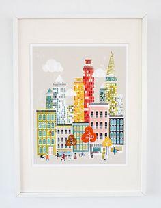 New York American Cityscape  A2 large print por lauraamiss en Etsy, €30.00