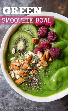 Delicious and easy 5 ingredient green smoothie bowls are the healthiest way to turn a smoothie into a satisfying meal!
