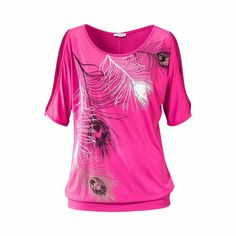 Slit Sleeve Feather Print Casual T Shirt