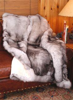 Blue Fox Fur Throw or Blanket