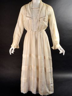 1912 White & Yellow Batiste Middy Dress