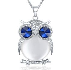 New Fashion Charms Crystal Owl Necklace Rhinestone Gem Cubic Zircon Diamond Long Chain Necklaces&Pendants Women Jewelry Owl Necklace, Long Chain Necklace, Necklace Types, Crystal Necklace, Sterling Silver Necklaces, Chain Necklaces, Pendant Necklace, Trendy Necklaces, Girls Necklaces