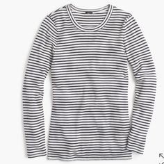 J. Crew Striped Waffle Shirt 7/11/16 HP! NWT Navy and White Striped J.Crew Top. A timeless piece! In perfect condition. This color and size is sold out online. Check out my other J.Crew items for a bundle discount! J. Crew Tops Tees - Long Sleeve