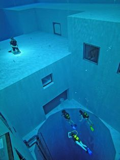 The deepest swimming pool in the world is located in Brussels, Belgium inside a recreational diving center and anyone can use it provided they are accompanied by a professional diver.    With a depth of 33 meters (108 ft) the pool contains several submerged structures offering a variety of diving opportunities.