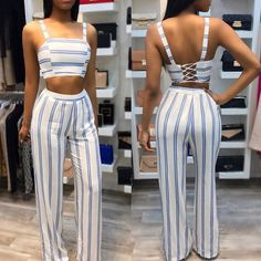 Available Sizes : S;XL Bust(cm) : Length(cm) : Waist(cm) : Hip(cm) : Type : Slim Material : Dacron Pattern : Striped Length Style : Long Decoration : Cross Back, Shoulder-Strap, Tie Back Color : White Miami Fashion, Uk Fashion, Womens Fashion Online, Fashion Outfits, Girl Fashion, Crop Top Outfits, Cute Outfits, Amber Rose, Homecoming Outfits