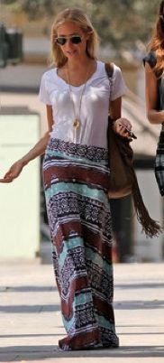 College Fashion - Page 3 of 677 - Trends, tips, and style for students. : Long tribal maxi w/ simple Sevenly tee . Hippie Style, Gypsy Style, Bohemian Style, Bohemian Skirt, Bohemian Gypsy, Hippie Chic, Boho Dress, Boho Fashion, Fashion Beauty