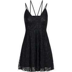 Yoins Black Plunge Lace Pleated Strappy Cami Dress with Lining (62 SAR) ❤ liked on Polyvore featuring dresses, black, lace dress, sleeveless lace dress, lace camis, lace cocktail dress and mini dress