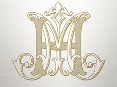 Antique Monogram Alphabet HM MH Antique Monogram Digital