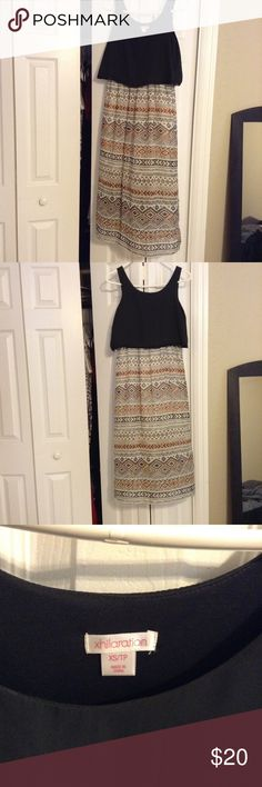 Chiffon Tribal Maxi Looks like a crop top & skirt but is all connected. Goes to the middle of my shin (I'm 5'2) Size is XS but can pass as a S Xhilaration Dresses Maxi