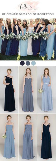 shades of blue long bridesmaid dress