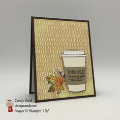 Autumn swap card made using the Merry Cafe stamp set, Coffee Cafe Bundle, Colorful Seasons Bundle, and Painted Autumn DSP by Stampin' Up! #stampcandy