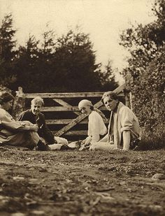 Virginia Woolf (second right) and poet Rupert Brooke (far right) went skinny-dipping together. this was most likely taken at The Orchard in Grantchester near Cambridge