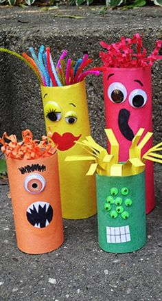 Cardboard Tube Craft: Make a Colorful Ghoul Family