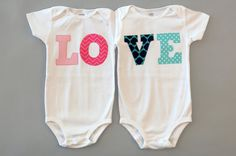 Twin LOVE Onesies : great for twin gift and twin photos via  etsy @Katie Schmeltzer Peery - this would be cute for your triplets if they have that!