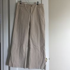 """Khaki wide leg trousers GAP stretch ankle length trousers. I'm 5'5"""", they fit perfectly with flats. Comfortable! GAP Pants Wide Leg"""
