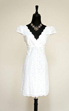 'Laundry by Shelli Segal' White Eyelet Scalloped Dress - $54 for sale in my #threadflip closet! www.threadflip.com/caro #eyelet #sundress #wedding #summer
