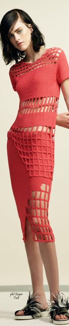 ICB Spring 2016 RTW red crochet dress women fashion outfit clothing style apparel @roressclothes closet ideas
