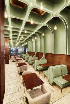 restaurant architecture bluarch wraps times square diner with soft green interior in new york houserestaurant Restaurant Design, Hotel Restaurant, Design Hotel, Japanese Restaurant Interior, Café Design, Design Retro, Vintage Design, Design Ideas, Design Projects