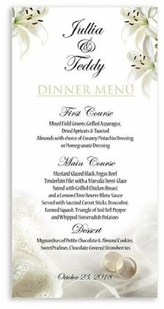 115 Wedding Menu Cards - Ring Affair by WeddingPaperMasters.com. $85.10. Now you can have it all! We have created, at incredible prices & outstanding quality, more than 300 gorgeous collections consisting of over 6000 beautiful pieces that are perfectly coordinated together to capture your vision without compromise. No more mixing and matching or having to compromise your look. We can provide you with one piece or an entire collection in a one stop shopping ex...