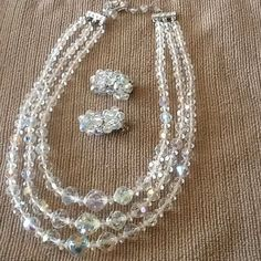 Vintage Three strand Crystal Vintage necklace with by BEEBSCLOSET