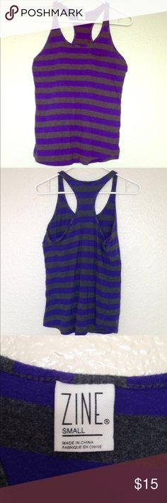 Purple and gray striped racer back tank top Purple and gray striped racer back tank top! With front pocket! So small Zine Clothing Tops Tank Tops