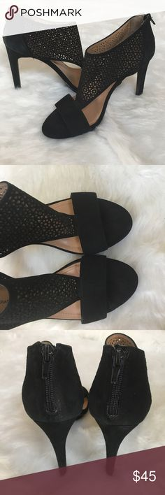 🆕Black Suede Heels Excellent used condition | Zipper back  | Please pay attention to photos regarding condition BCBGeneration Shoes
