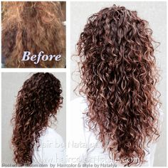 Before and after, Thick Curly Hair. To achieve this result gel should be applied section by section and gently defuse. Curly Perm, Ombre Curly Hair, Thick Curly Hair, Curly Hair Cuts, Wavy Hair, Curly Hair Styles, Curly Wigs, Naturally Curly Hair, Wig Hairstyles