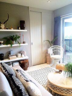 Small Bedroom Turned Into A Comfortable Living Room. #boho Decor Interior  Design #tribal