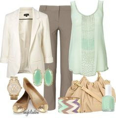 A fashion look from July 2012 featuring green top, white jacket and cropped pants. Browse and shop related looks. Office Fashion, Work Fashion, Fashion Beauty, Fashion Outfits, Business Outfits, Office Outfits, Summer Outfits Men, Cute Outfits, Formal Outfits
