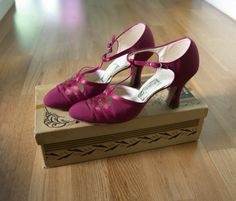 1930s Berry Red Strappy Elegant Heels - Colette's Wedding Shoes - Art Deco - With Box on Etsy, $134.26 CAD
