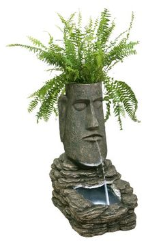 Easter Island Head Solar Water Feature and Planter with LED Lights Primrose http://www.amazon.co.uk/dp/B0071XARPW/ref=cm_sw_r_pi_dp_CvtLvb01ZYWH2