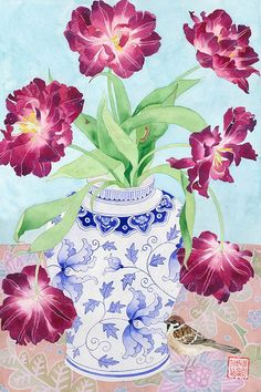 Gabby Malpas original watercolour painting tulips and sparrow. Chinoiserie watercolour and pencil on Arches paper. Art Floral, Watercolour Painting, Watercolor Flowers, Flower Vases, Flower Art, Guache, Still Life Art, Illustrations, Pictures To Paint