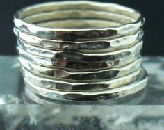Gehamerd Zilveren Ring 7 Band Set van Forkwhisperer op Etsy