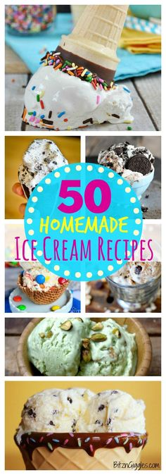 50 Homemade Ice Cream Recipes! No machine or churning needed! So many flavors to choose from and make right at home this summer! #icecream #nomachine #homemade