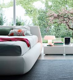 Upholstered fabric double bed with removable cover BIG BED by Poliform | design Paola Navone